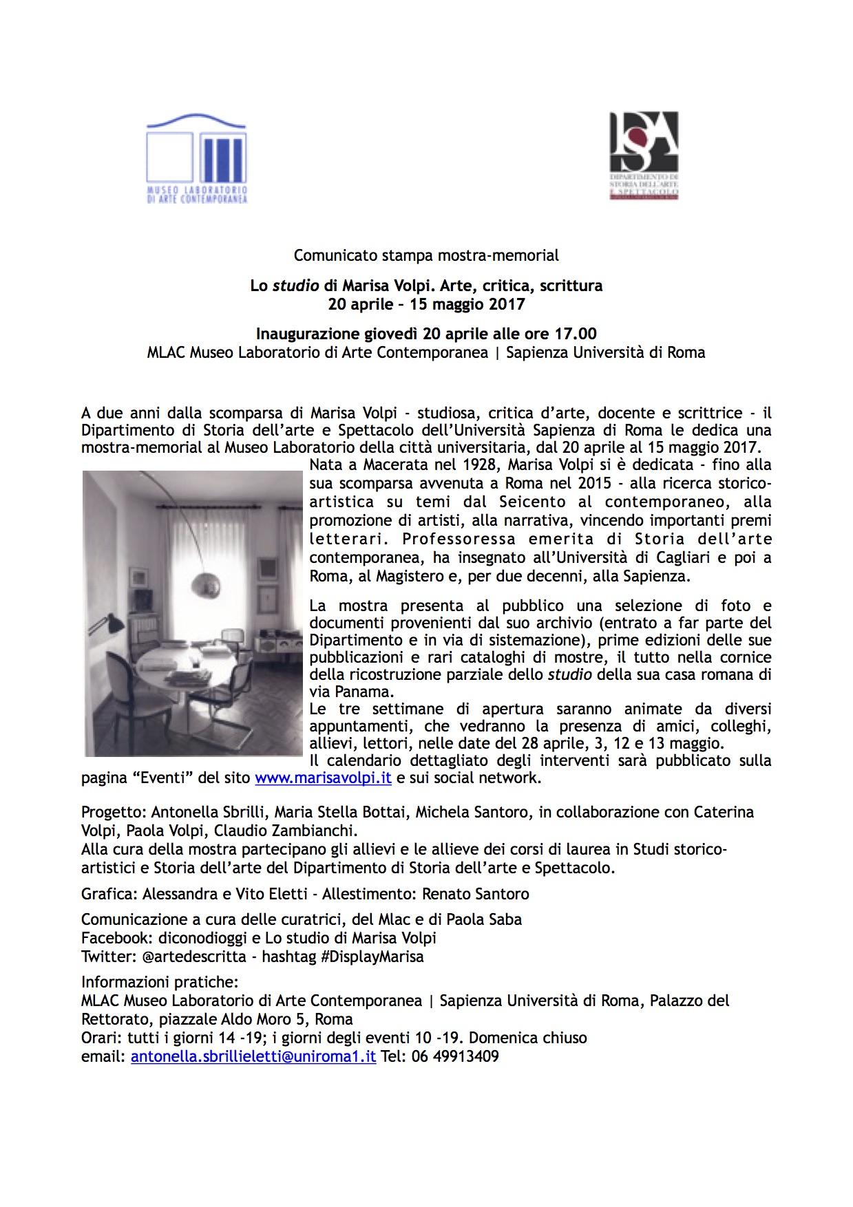 Comunicato stampa Lo studio di Marisa Volpi Mlac Sapienza 20 aprile 2017